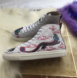 Wholesale Red Dragon Flower - 2017 New Men Women High Top G Red Snake Casual Shoes Luxury Dragon Embroidery White Leather With Black Bottom Flats Size 35-46
