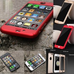 Wholesale Iphone Plastic Cover Case - For iphone 7 6 6S 6plus Luxury Full Body Protect Hard Slim Utra Thin Case Cover W Tempered Glass For iPhone6 Plus