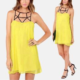 Wholesale Vogue Boho Chiffon Dress - New Women Elegant Vogue Stylish Chic Sexy Summer Boho Sleeveless Chiffon Backless Yellow Mini Dress