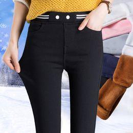 Wholesale Thick Blue Pink Leggings - Plus velvet leggings pants autumn and winter new thick warm black tight pencil feet trousers waist wear