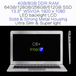 Wholesale Laptop 13 Ssd - DHL-in-Stock 13.3inch IPS Intel i7 Quadcore 8GB Ram 512GB SSD Laptop LED backlight LCD Win7 Win8 Notebook Metal case (C6+i7)
