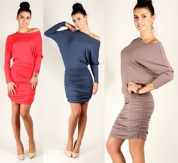 Wholesale Large Long Sexy Casual Dresses - Free shipping the Summer Sexy Women Casual dress O-Neck Long Sleeve short dress Large size XXL.