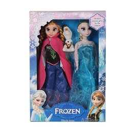 Wholesale Display Dolls - frozen Elsa Anna Olaf Snowman Set Playset Dolls 12 Movable Joints Frozen Princesses display Toys Kids Best Gift(1702025)