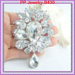 Wholesale Celtic Silver Brooch - 3.2 Inch Large Silver Tone Luxury Waterdrop Pendent Big Crystal Wedding Elegant Brooch Fashion Costume Brooch For Women Banquet Top Quality