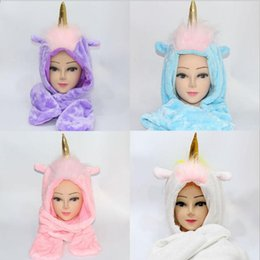 Wholesale Wholesale Skull Gloves - 3 in 1 Unicorn Costume Plush Hat Christmas Winter Warm Earmuffs Gloves Warm Scarf Cosplay Gloves LJJY858