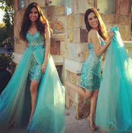 Wholesale Good Quality Prom Dresses - 2016 Removable Skirt Rhinestones Sparkling 2 Pieces Prom Dresses Sweetheart Tulle Sheath Party Gowns Good Quality Custom Made