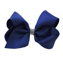 Wholesale Cheer Accessories Wholesale - 24pcs 5 Inch Holiday Jojo Bows Solid Rhinestone Jojo Siwa Style Hair Bows Children Party Supplies Cheers Bow Team Spirit Hair Accessories