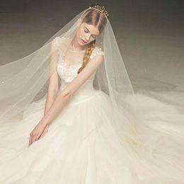 Wholesale Weddind Dresses - Ivory Crystal Bridal Veils One Layer Bridal Veil Luxury 3 Meter Length Blusher Weddind Dress Veils White Cathedral Length Wedding Veils