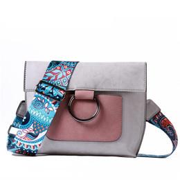 Wholesale Blue Female Rings - hot 2018 New Ring bag color shoulder strap female suede suede oblique contrast color bag