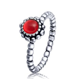 Wholesale Red Birthstone - 2015 New ! 925 Sterling Silver Charm Capricorn Birthstone Ring European Fine Jewelry Rings For Women Birthday wedding Anniversary Gift