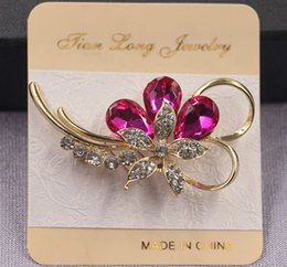 Wholesale Cheap American Wholesale Clothing - Newest Rhinestone Brooch Pins Cheap Colorful AAA Crystal Brooches Women Dress Corsage Clothing Accessory Xmas Gifts YZ