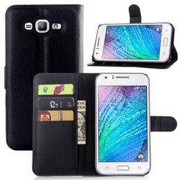 Wholesale Galaxy Credit - For Samsung Galaxy J7 J700 Wallet style Lichi Leather Case Cover Pouch with credit card Slots Stand phone case 9 colors choice