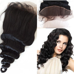 Wholesale Eurasian Virgin - Eurasian ear to ear lace frontal closure with baby hair virgin loose wave wary dyeable hair closure 13x4 with bleached knots G-EASY