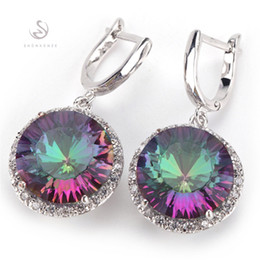 Wholesale Mystic Earrings - Fashion Romantic Rainbow Mystic Topaz stone Silver Plated Earrings E737 Punk Recommend Promotion Favourite Best Sellers