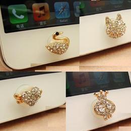 grossistes porte-badges en lanières en cristal Promotion 4 styles différents New Crystal Crown Girl Swan Fox Head Bling diamant maison bouton autocollant pour iPhone 4s 4 5 ipad