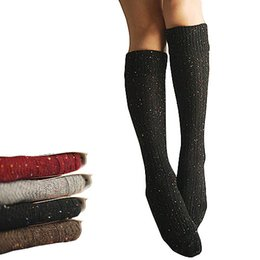Wholesale Colored Knee Highs - S5Q Warm Women's Turn Up Rib Colored Wool Blend Long Knee High Winter Boot Socks AAAEGU