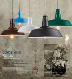 Wholesale Colored Lamp Cord - Dia*25-45cm American industrial loft vintage pendant lights for dining room iron multi-colored painted E27 Edison bulb home lamp