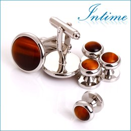 Wholesale Tuxedo Studs - Wholesale-High quality Tiger Eyes Cuff links sets Tuxedo Studs For men