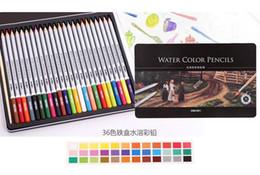 Wholesale 36 Color Pencils - 24 36 48 72 lapis de cor profissional colored pencils watercolor pencils lead water-soluble color pen free ship 1512