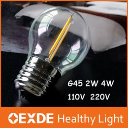 Wholesale E12 Led Globe Bulb - New Design 2w 4W E14 220V AC E12 110V AC G45 LED Filament Dimmable Candle Bulbs 360 Degree Beam oexde