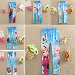Wholesale Tights For Kids Girl - Free DHL Frozen Leggings For Girls Kids Princess Elsa Long Pants Tights Trouser Cartoon Clothes Frozen Fever Children Clothing Factory Price