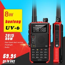 Wholesale 8w Dual Band Walkie Talkie - Baofeng UV-6 Walkie Talkie 8W High Power Radio VHF UHF Ham Pofung Two way Dual Band Radio Walkie Talkie Case Charger Walk Talk