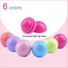 Wholesale Ball Lip Balm Wholesale - Round Ball 3D Lipstick Makeup Moisturizing lip balm Natural Plant Sphere lip Pomade lip balm Fruit Embellish lip Care 6colors N15
