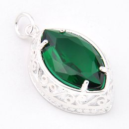 Wholesale Gentle Green - Luckyshine Best Wholesle Price 3 Pieces Gentle Shiny Green Quartz Crystal Gem 925 Sterling Silver USA Israel Wedding Pendants Weddings