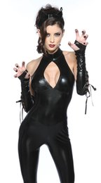 Wholesale Adult Womens Halloween Costumes - New Adult Womens Sexy Black PU Catwoman Jumpsuit 3 sets For Women sexy halloween costume fantasia sexual witch Cosplay
