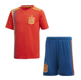 Wholesale Rugby Team Jerseys - Spain national team 2018 home football jersey RFEF ISCO MORATA ASENSIO RAMOS SILVA THIAGO PIQUE A.INIESTA MESSI Spain World Cup jerseys.