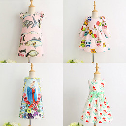 Wholesale Animal Clothes For Kids - Girls Printed Dresses Princess Dresses for Girls Fish Fruit House Kids Clothing for Stage Performance 90-140cm 3-8T