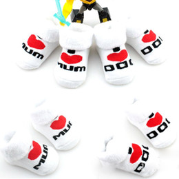 Wholesale Dad Socks - Wholesale-Lovely Cute Soft Baby Newborn Toddler Boys Girls Heart Print Thickening Cotton Mom Dad Socks 0~6 Months Accessories