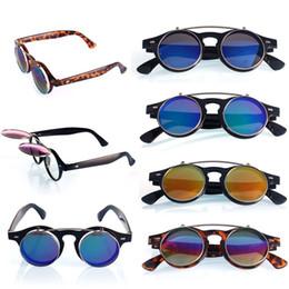 Wholesale Retro Steampunk Flip Up Glasses - New Steampunk Fashion Leopard Goth Goggles Glasses Retro Flip Up Round Sunglasses Vintage Dave