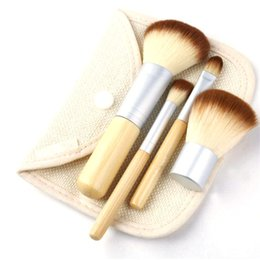 Wholesale Makeup Brushs - New Fashion Makeup Brushs 4 Pieces Bamboo Professional Makeup Brush Set Bamboo Handle Designfor Sale EB-DN15561