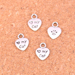 Wholesale 9mm Charms - 240pcs Antique Silver Plated heart love my cat Charms Pendants for European Bracelet Jewelry Making DIY Handmade 12*9mm