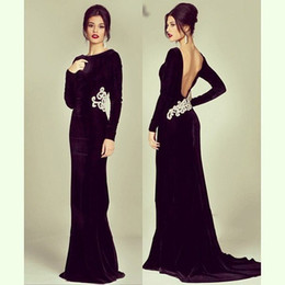 Wholesale White Long Sleeve Pagent Dress - Long SLeeve Evning Dress Grape Sheath pagent Dresses Vestidos de festa Sparking Crystal Sexy Backless Prom Gowns 2015 In winter