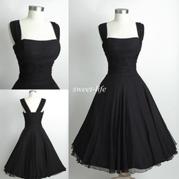 Wholesale Spaghetti Straps Short Dress - 2015 Black Short Party Dresses Knee Length Vintage Audrey Hepburn Style Cheap Spaghetti Prom Cocktail Evening Gowns Women Bridesmaid Dresses