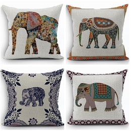Wholesale Animal Cushion Covers - ethnic animal cushion cover cotton linen elephant throw pillow case sofa funda cojin cojines home decor