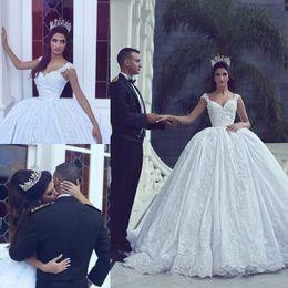 Wholesale Luxurious Dresses Dubai - 2018 Elegant Morden White Ball Gown Wedding Dresses V-neck Appliques Dubai Luxurious Bridal Gowns Princess Wedding Gowns