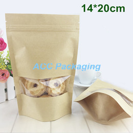 """Wholesale Valve Windows - 14*20cm (5.5*7.9"""") Kraft Paper Stand Up Packaging Bag Resealable Valve Self Seal Zipper Zip Lock Food Packing Pouches With Clear Window"""