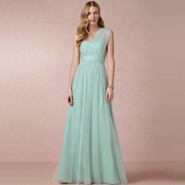 Wholesale Light Green One Shoulder - Mint Green One Shoulder Prom Dresses with Wraps Sweetheart Bow Sashes A Line Tulle Long Prom Dresses Evening Bridesmaid Dress P1111