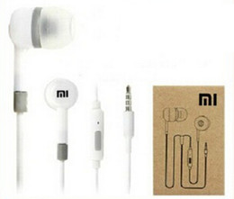 Wholesale Xiaomi Mi - 3.5mm xiaomi In-Ear Earphone headphone With Mic and Remote headphone white black with retail box for XiaoMi Mi Smart Phones 500pcs