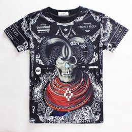 Wholesale Men S Skull Necklace - FG1509 2015 New Arrivals Women Men Summer Printed sheep necklace 3d skull head T shirt Cool Top Fashion Novelty Tee Free Shipping