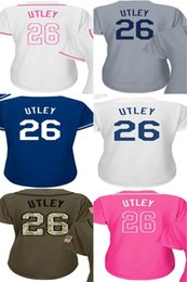 Wholesale Ladies Army Shirt - 2017 Womens Los Angeles 26 Chase Utley Baseball Jerseys Ladies Shirt White Blue Grey Pink Fashion Stitched Baseball Jerseys Size S-XL
