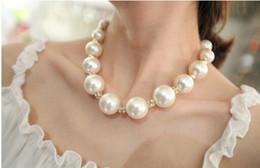 2019 ensembles de bijoux de mariée bleu clair Collier De Perles De Mariée Grandes Perles De Perles Blanches Collier Haute Qualité Paquet Individuel Style Coréen