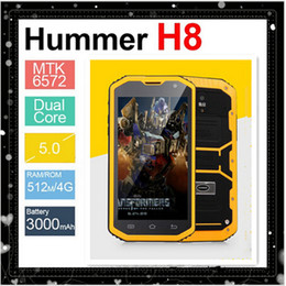 Wholesale Hummer Waterproof Phone - 2015 New Hummer H8 Phone With IP68 Dustproof MTK6572 Android 4.4 3G GPS 5.0 Inch Screen 8.0MP Waterproof Outdoor Smart Phone