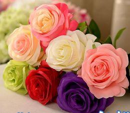 Wholesale Orange Center - New Artificial Fake Silk Circle Center Rose Flower Bouquet For Home Wedding Decor Table Centerpieces Decoration 7 color to choose SF0212