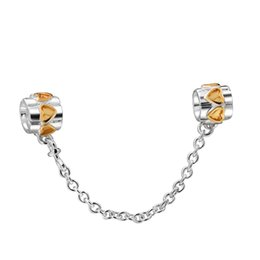 Wholesale sterling silver golden - Wholesale Golden Hearts Safety Chain 925 Sterling Silver Bead Fit European Charm Snake Chain Bracelet Fashion DIY Jewelry