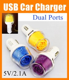 Wholesale Flower Port - For iPhone 6 New Arrival Rose Flower Car Charger 2 Ports 2.1A USB Car Charger With LED Light For iPhone 5 5S 6 6 plus Samsung Note 4 CAB063