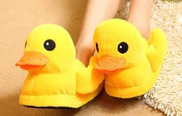 Wholesale Rubber Duck Cartoon - indoor cartoon funny pattern plush yellow duck Winter cotton shoes Home warm lovers slippers Rubber Duck